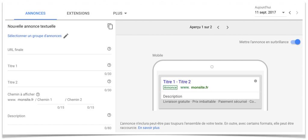 Créer une nouvelle annonce textuelle Google Adwords