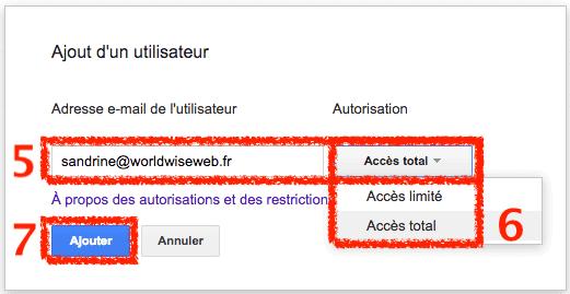Ajouter un utilisateur en accès total Search Console