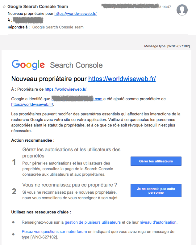 Email confirmation accès Google Search Console